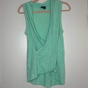 LEFT OF CENTER | Anthro Green Faux Wrap Tank Top